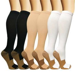 Compression Socks Copper Medical Stockings Travel Running An